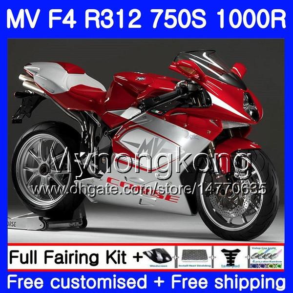 Karosserie für MV Agusta F4 R312 750S 1000 R 750 1000CC 05 06 Bausatz 320HM.21 1000R 312 1078 1 Lagerfarbe +1 MA MV F4 05 06 2005 2006 Verkleidung