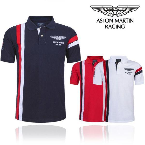 Été nouvelle marque de mode pour hommes T-shirt de haute qualité polo revers hommes chemise de sport rayé noir et blanc pour les pilotes de course