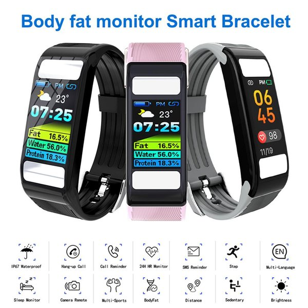T9 Body Fat Monitor Calories Gym Watches Smart Heart Rate Wristband Fitness Tracker Smart Bracelet for Android iOS