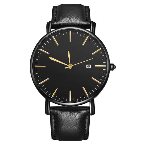 New Business Men Minimalist Kalender Runden Zifferblatt Kunstleder Band Quarz-Armbanduhr