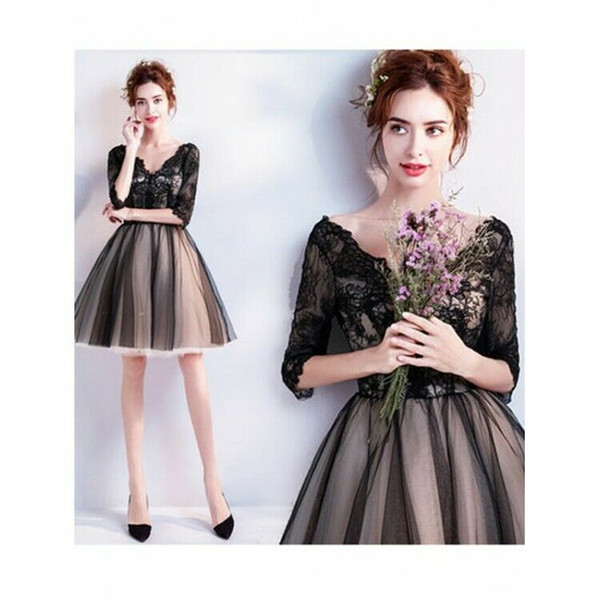 Elegant Sexy V-Neck Half Sleeves Black Short Cocktail Dress Homecoming Party Prom Gowns Robe de Soiree with Appliqued