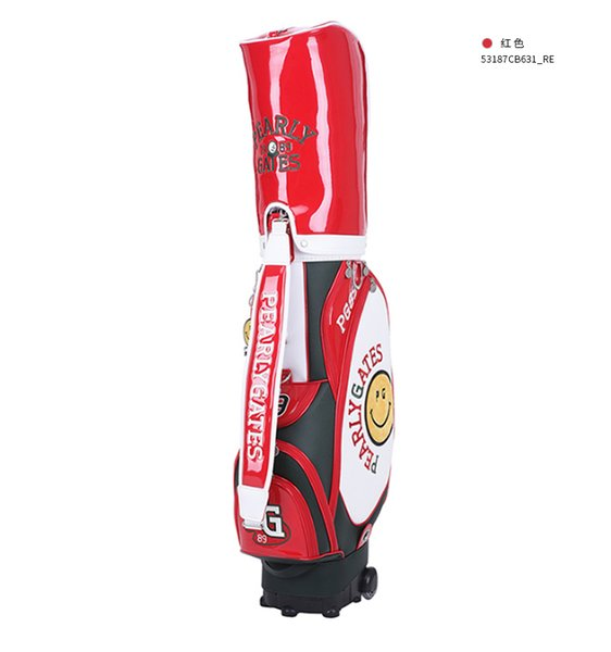 top popular Newest PEARLYGATES Golf Bags PG Smiley Face Golf Stuff Bag with Wheeled 2019