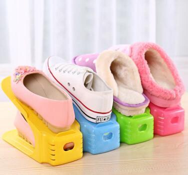 Doppio strato scarpe rack durevole in plastica scarpa organizzatore creativo scarpe di pulizia stand scaffale comoda scatola di scarpe