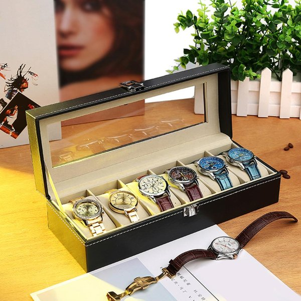 6 Grids Classic Black Watch Case Box Jewelry Storage Box with Cover Case Jewelry Watches Display Holder Organizer storage
