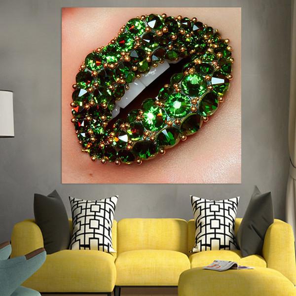 1 Adet Drop Shipping Duvar Resimleri Yeşil Taşlar Dudak Tuval Sanat Resimleri Güzellik Makyaj Poster Baskılar Tuval Posterler Ev Dekorasyonu yazdır