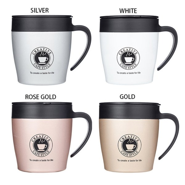 Stainless Steel Coffee Mug 350ml Creative Travel Mug Double Wall Vacuum Insulated Tumbler Wide Mouth Coffee Tea Cup Water Bottle with Lid