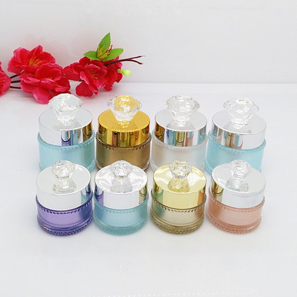 Elegant 5g 10g Acrylic Eye Cream Bottle Refillable Sample Mask Jar Frosted Color with Diamond Cover Lady Favor 10pcs/lot P024