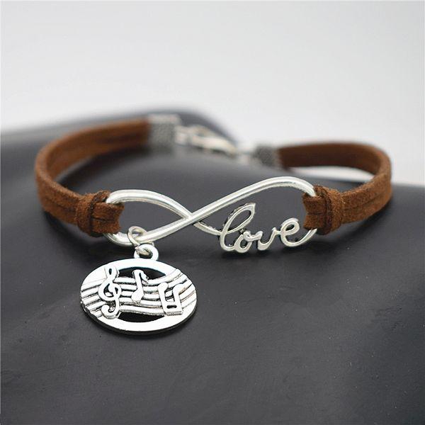 Mode Simple Argent Infinity Amour Score De Musique Symbole Note De Musique Ovale Pendentif Manchette Bracelets Femmes Hommes Brun Foncé En Daim Bijoux
