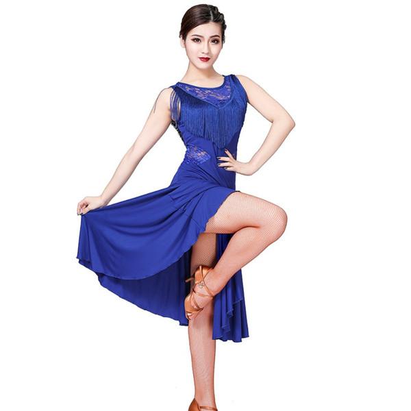 nouvelles filles adultes Enfants moderne Ballroom Latin Dance Dress Tango Vêtements de Danse Performance Noir Porter Stage