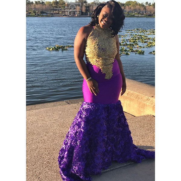 South African Mermaid Prom Dresses 2019 New Sleeveless Halter Neck Gold Lace Applique Purple Formal Evening Dress Party Gowns
