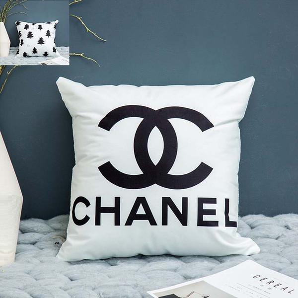 45 * 45 cm 2019 noir et blanc nordique treillis géométrique taie lettres anglaises rayées canapé simple, taie (pas d'oreiller)