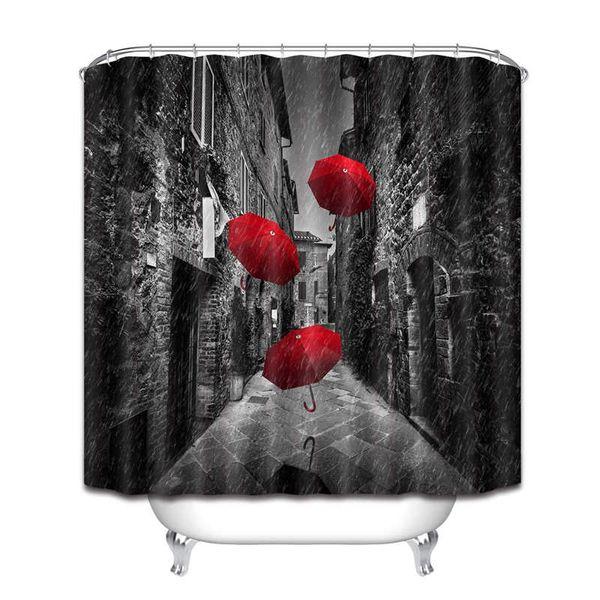 Acheter Rideau De Douche Noir Et Blanc, Parapluie Rouge Dans Une Rue  Étroite Sombre En Toscane Rideau De Douche À Effet De Pluie Italie 72x72  Pouces ...