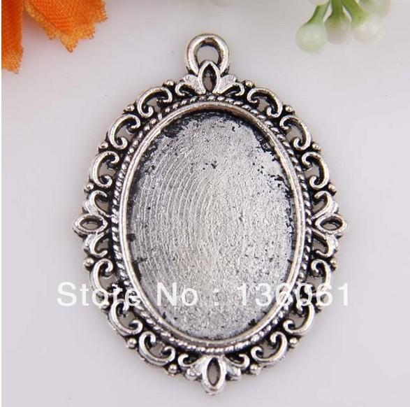 Vintage Silver Elliptical bottom bracket Picture Frame Charms Pendants Inner diameter 18*25mm For Bracelet Jewelry Making NEW
