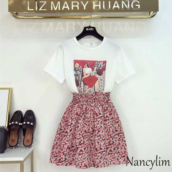 2019 Summer Dresses Women New Korean Cartoon Print T-shirt + Flower Chiffon Skirt Fashion Two Pieces Set Girls Students Outfit