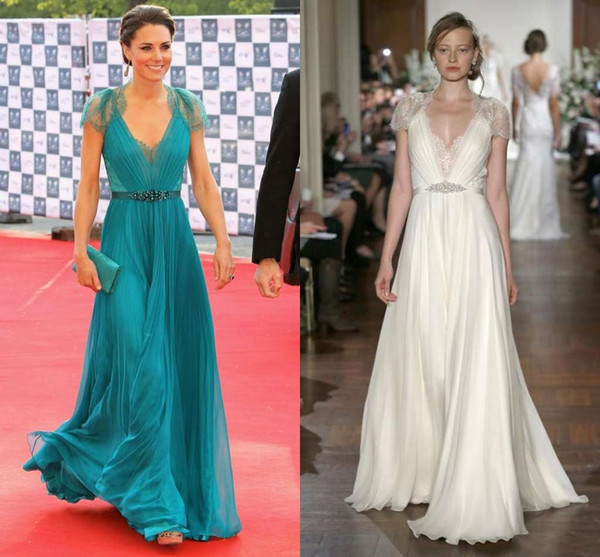 New Kate Middleton in Jenny Packham Sheer with cap Sleeves Evening Gowns Formal Celebrity Red Carpet Dresses Lace Chiffon Evening Dresses