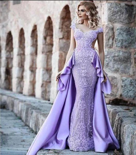 e524cdfc3ea 2018 wanshandress purple satin mermaid evening dresses custom detachable  train evening gowns cap sleeves backless prom