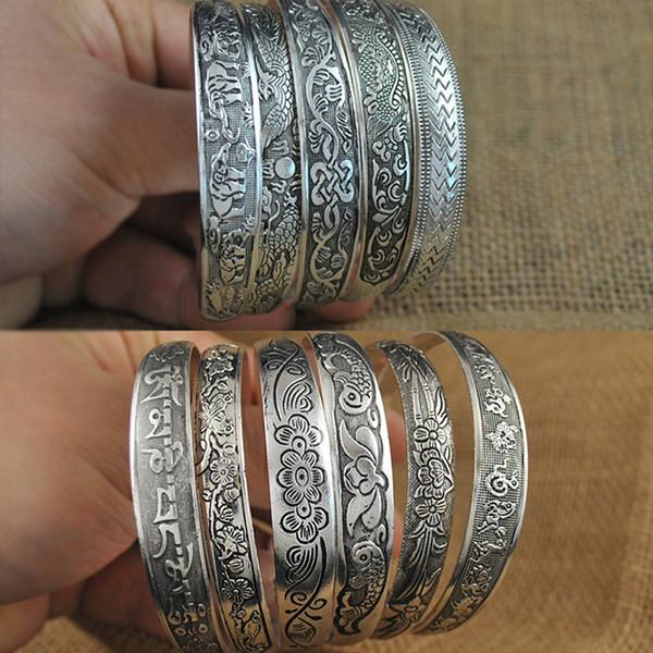 Vintage Elephant flower Tibetan Tibet Silver Plated Bracelets Charming Elegant Round Metal Cuff Bangles Women Jewelry