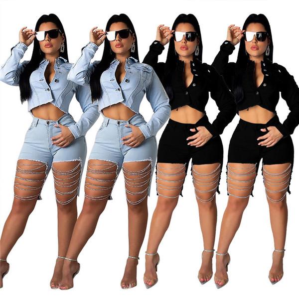 Femmes Denim Shorts 2 Piece Set Jeans + Veste Lapel Survêtements Survêtement Automne Hiver Manteau À Manches Longues Manteau Couleur Unie Déchiré Casual Sportswear 1434