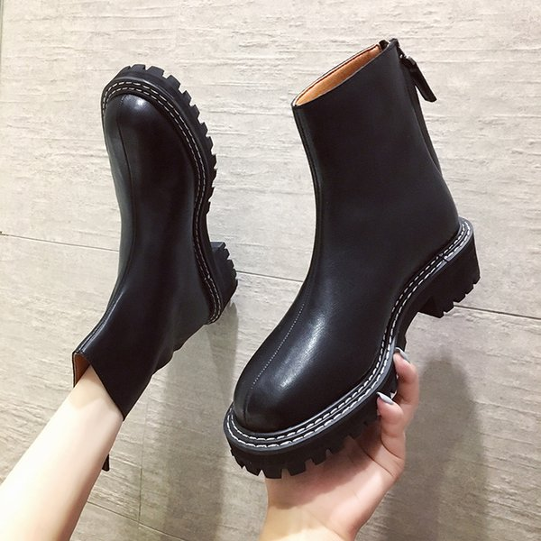 Bootee Woman 2019 Round Toe Lace Up Boots Summer Booties Shoes Back Zip Martins For Women Low Heels booties Luxury Designer