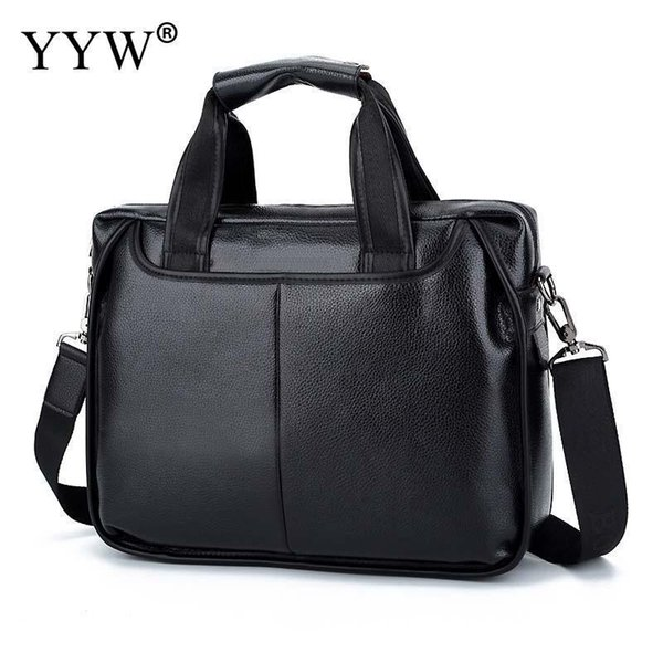 YYW Pu Leather MenS Executive Briefcase Business Male Tote Bag Brown Black Portfolio Bags For Men Case For Documents Bolsos