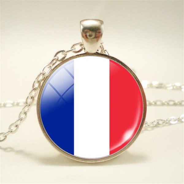 Vintage Glass Cabochon France National Flag World Cup Football Fan Pendants Necklace for Womens Mens Metal Long Sweater Chain Choker Jewelry