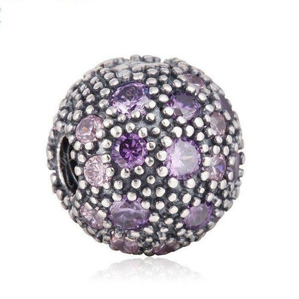 New 100% 925 Sterling Silver Cosmic Stars Clip Charms Violet Pink Crystal European Bead Fit Bracelet DIY Accessories Fine Jewelry