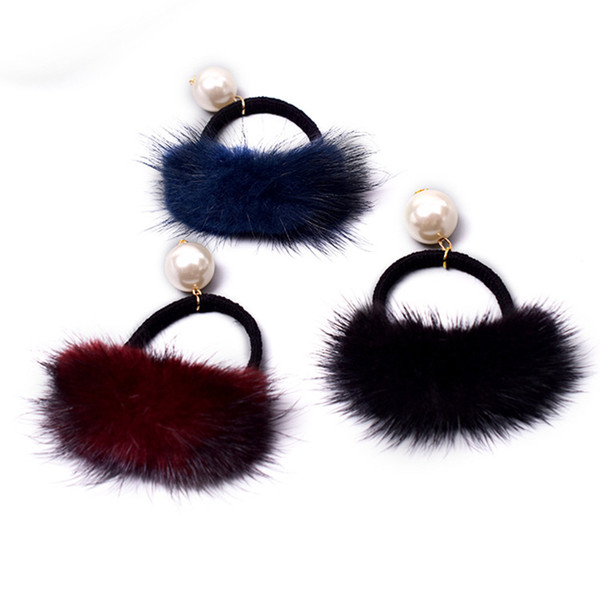 kadın aksesuarları moda inci Headdress için Vizon elastik saç bantları lastik bant peluş saç bağları 2018 yeni kıllı halat