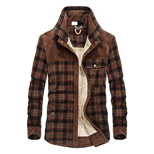 Winter Men's Shirt Plus Velvet Thick Men's Business Casual Coat Cotton Shirt Large Size Shirt T4190617