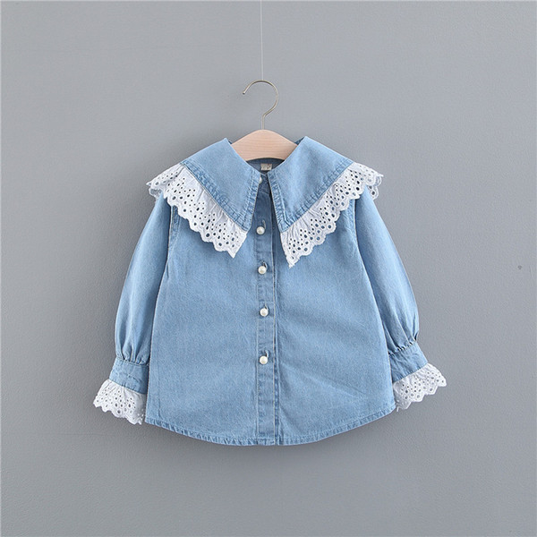 Little Girls Lace Collar Denim Shirts Spring 2019 Kids Boutique Clothing Korean 1-4 Little Girls Solid Color Long Sleeves Denim Shirts