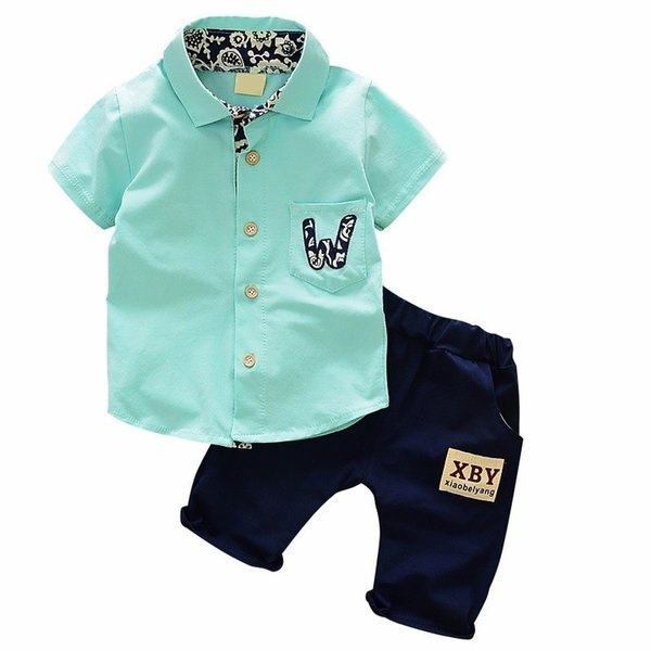 2019 Summer Hot Toddler Kids Cool Baby Boy Single-breasted Printing Short Sleeve Shirt Tops Pants 2pcs Outfits Clothing Set