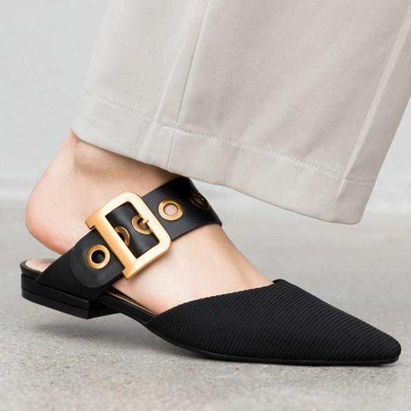 19ss Luxury Square Metal Belt Buckle Ladies Slippers Sexy Pointy Toe Black Cloth Mules Outside Soft Flat Casual Lazy Woman Shoes