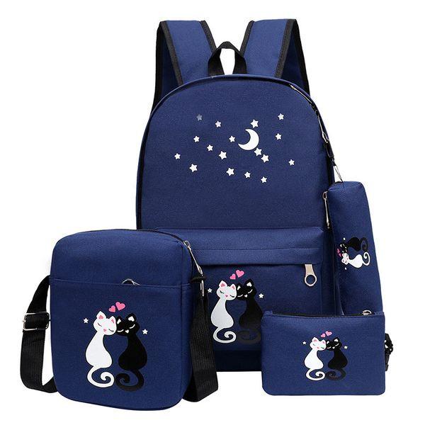 4pcs backpack Children School Bags For Girls Boys Canvas SchoolBag Fashion Kids Backpack Teenager Rucksack Cute child
