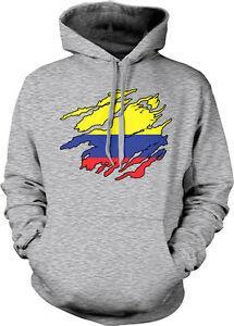 Cores da bandeira colombiana Colômbia Camisa rasgada rasgada Heritage COL Moletom com capuz