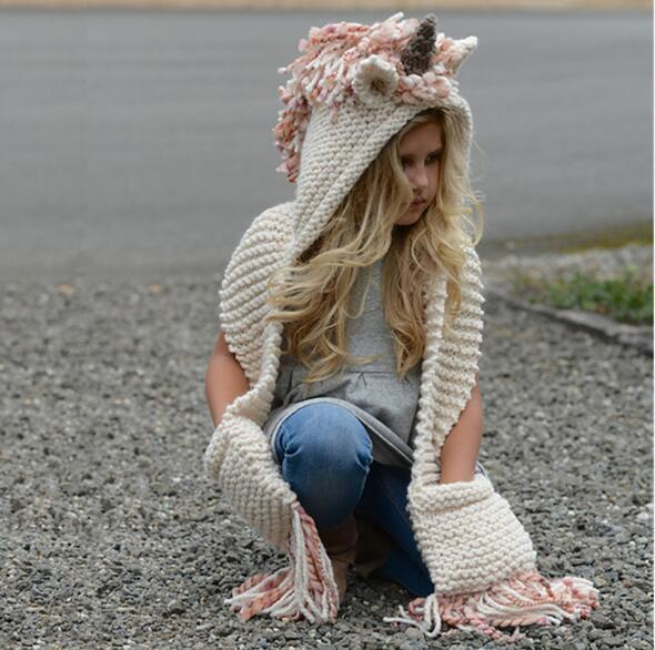 Unicorn Children Party Hat Unicorn Scarf Spring Warm Wool Knitted Tassels Hats Scarves Handmade Unicorn Caps Winter Hat Wrap