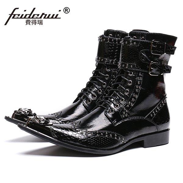 En Acheter Du Moto Punk Chaude Chaussures De157 Chaussures Pointu Haut Main 59 Top Cuir Toe Bottes Verni SL477 Homme Rocker Rivet Longues Ceinture 0Nwm8n