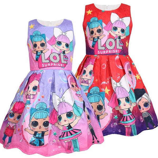Nuevo vestido lol Vestido estampado de dibujos animados para niña Vestido sin mangas Verano Nueva marca de alta calidad 5 unids / lote AA1933 Envío gratis
