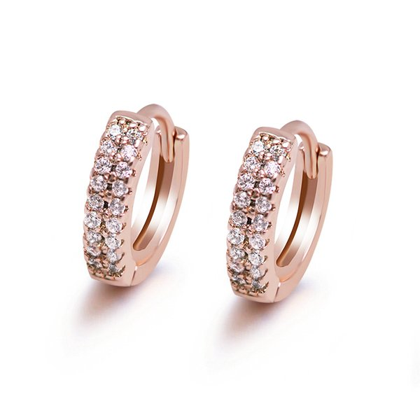 Earrings E-212 18K Yellowe Gold Filled CZ Hoop Earrings