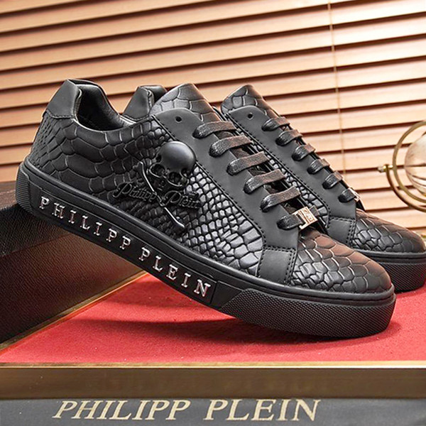 best selling Mens Shoes Luxury Lace-Up Mens Shoes Leather Big Size Lo-Top Sneaker Hexagon Luxury PZ168 with Origin Box Chaussures pour hommes Fast Ship