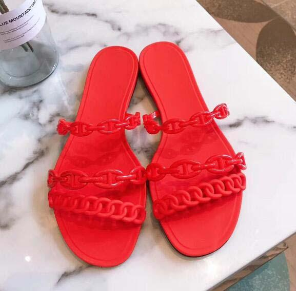 Classic lady sandals Buckle Metal buckle leather Flat bottom Beach slippers Designer's Luxury Women's Sandals Large size 35378