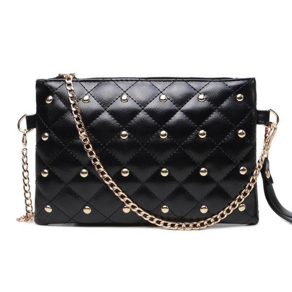 women messenger bags female black evening clutch bags tide personality PU casual rivet chain envelope shoulder bag
