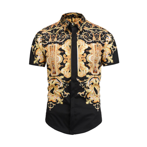 2019 yaz kış Kısa kollu Casual gömlek erkekler baskılı elbise gömlek Renkli Baskı Slim Fit medusa Ipek Gömlek M-2XL