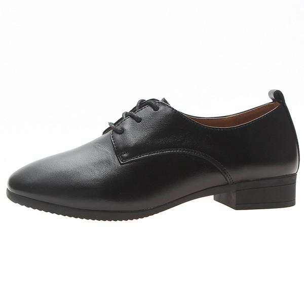 Yeni deri saf renk küçük deri ayakkabı İngiliz rüzgar derin ağız bayan ayakkabıları kalın topuk iş ayakkabısı tek