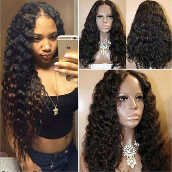 Deep Wave Human Hair Silk Top Full Lace Wig Brazilian Glueless Lace Front Wigs Wavy With Baby Hair For Black Women
