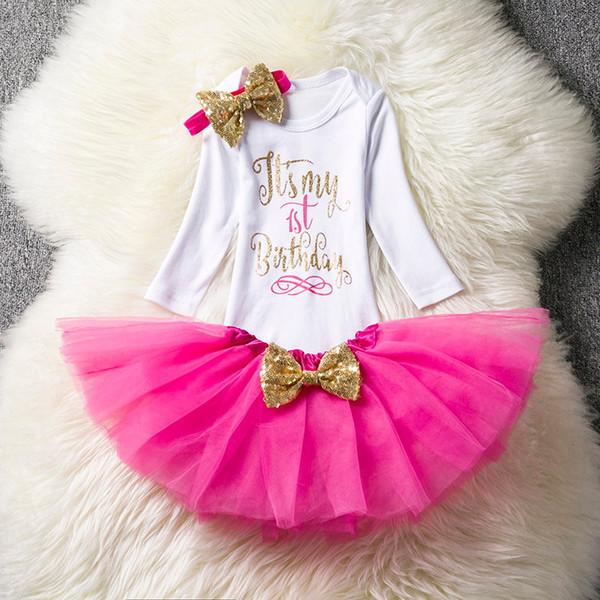 Highquality Küçük Kızlar Yaz Elbise Sevimli Yenidoğan Bebek Kız Giysileri 1st Doğum Günü Bebek Bodysuit Romper + Ruffles Tutu Etek + kafa Kıyafetler