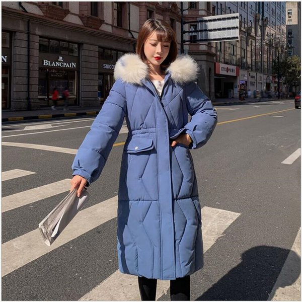 Winter Women coat Long Cotton Parkas Large Fur Collar Hooded Casual Padded Warm Jackets Wadded Snow Overcoat R260