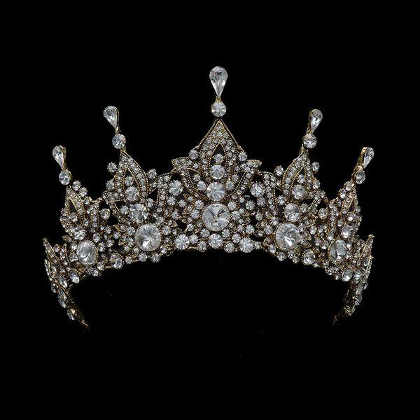 Atacado Vintage Queen Tiara Para As Mulheres de Casamento Acessórios Para o Cabelo Nupcial Coroa Antigo Cristal De Ouro Real Diadema Para Pageant Prom