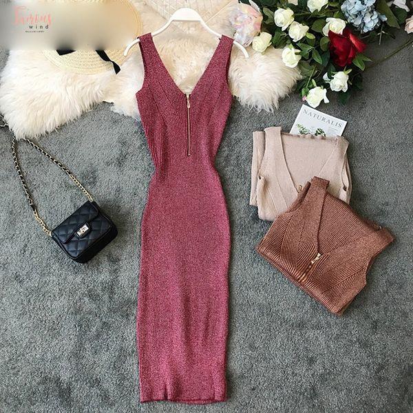 Fashion Bling Stretch Knitted Dress Sleeveless Solid Women Bodycon Dresses Deep V-Neck Zipper Party Midi Vestidos