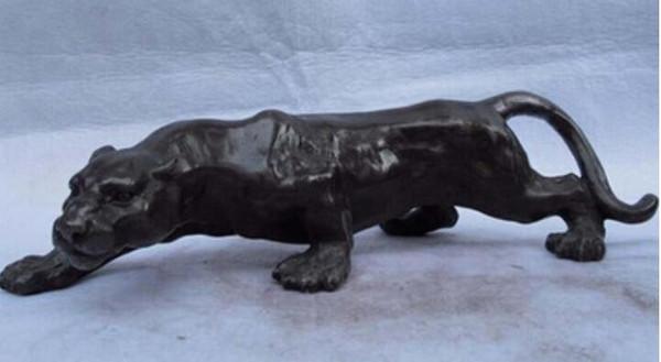 Bronze antigo Bronze Cobre Puro artesanato CHINÊS decoração asiática 4 ocidental Leopard Cheetah arte escultura de Bronze