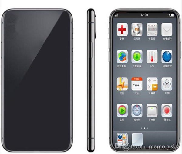 """Goophone X 1GB RAM 8GB ROM MTK6580 Quad Core 8MP 5.8"""" FaceID 3G WCDMA Andriod Cell Phone Sealed Box Fake 4G displayed"""