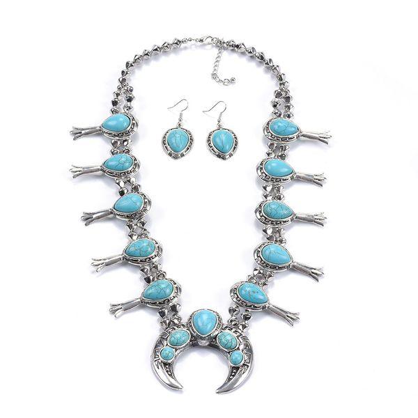 Turchese Squash Blossom metallo Normativa collana gioielli orecchini set per le donne Vintage forma collana elegante per la festa di regalo di Natale
